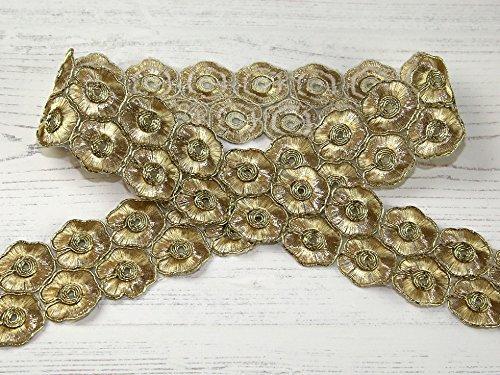 Stephanoise 45mm Metallic Lurex Floral Braid Trim Gold - Pro 10 Meter Rolle Floral Gold Trim