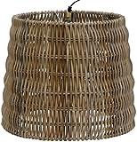 Lampenschirm aus echtem Rattan Grau, Geflochtener Design Schirm Koobo Grau für Deckenlampen / Deckenleuchten / Hängelampen / Passend für E 27 (Rund Konisch)
