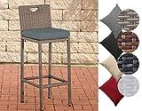 CLP Outdoor-Barhocker MARI mit Sitzkissen I Polyrattan-Tresenstuhl mit Fußstütze I Thekenhocker mit einer Sitzhöhe von: 75 cm I In verschiedenen Farben erhältlich Bezugfarbe: Eisengrau, Rattanfarbe: Grau