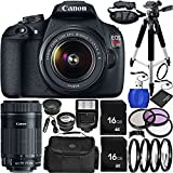 Canon EOS Rebel T5 DSLR Camera Bundle With 18-55mm F/3.5-5.6 IS II Lens, EF-S 55-250mm F/4-5.6 IS STM Lens, Carrying Case And Accessory Kit (21 Items)