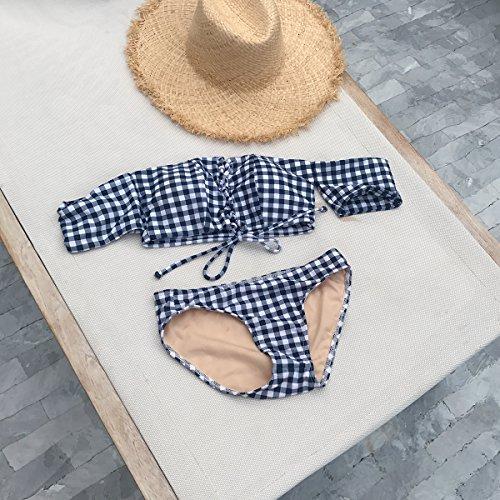 ZZNXYY Lace Triangle Bikini Kleine Kommode sammelt Spaghetti Split Spa Badeanzug Frauen, Xl, Grau Plaid