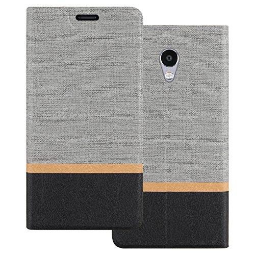 Custodia Meizu M5S, Shanphone Premium Pu Portafoglio Protettiva in pelle Bookstyle Flip Cover Stand Case per Meizu M5S, Grigio