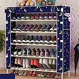 WZN Schuhregal Stehen Ablage Slippers Staubdichtes Massivholz Montage Oxford Cloth, 5 Farben (Color : E, Size : E)
