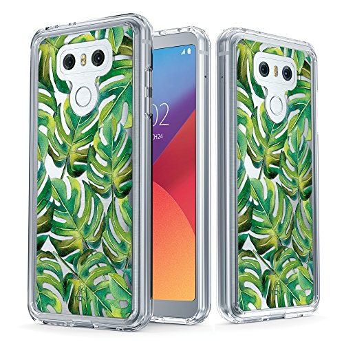iPhone 6s Tropical Case - True Color Clear-Shield Tropical Watercolor Flowers Printed on Clear Back - Perfect Soft and Hard Thin Shock Absorbing Dustproof Full Protection Bumper Cover Tropical Monstera Leaves