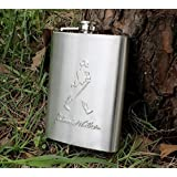 Amigozz Johnnie Walker Design Embossed 8oz (230 ml) Stainless Steel Hip Flask
