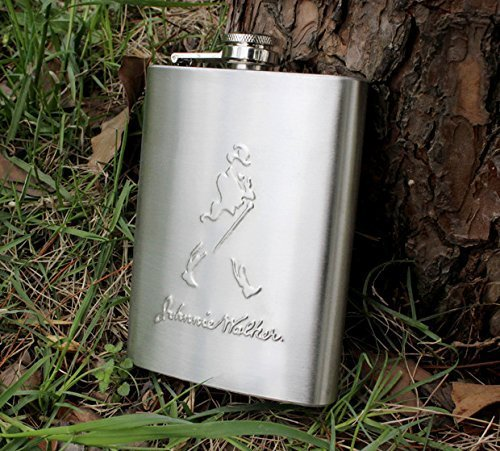 SHOPEE Johnnie Walker Design Embossed 8oz (230 ml) Stainless Steel Hip Flask  available at amazon for Rs.199
