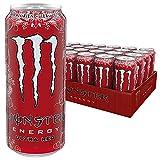Monster Energy Flavour Ultra Red mit fruchtigem Orangen Limonade Geschmack - ohne Zucker & mit wenig Kalorien / Energy Drink Palette mit 24 x 500ml Dosen