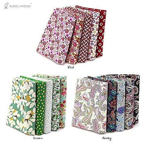 RayLineDo® 15 Pcs Different Pattern Multi Color 100% Cotton Poplin Fabric Fat Quarter Bundle 18