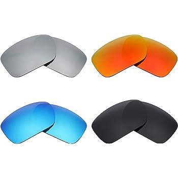 MRY 4 Pares polarizadas Lentes de Repuesto para Oakley Turbine Sunglasses-Stealth Negro/Fuego Rojo/Hielo Azul/Plata Titanio