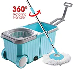 Dreamline Twin Tub Mop Bucket with Wheels with 1 Refill (Blue)