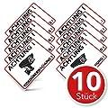 Achtung Videoüberwachung Aufkleber – Schild – Folie – Sticker ( Kameraüberwachung – Überwachungskamera – Alarmanlage – Alarmgesichert – Hinweisschild – Warnschild – Warnhinweis) für Türen, Fenster, Tore, etc. in weiss - Witterungsbeständig – 10 Stk. ( 14,