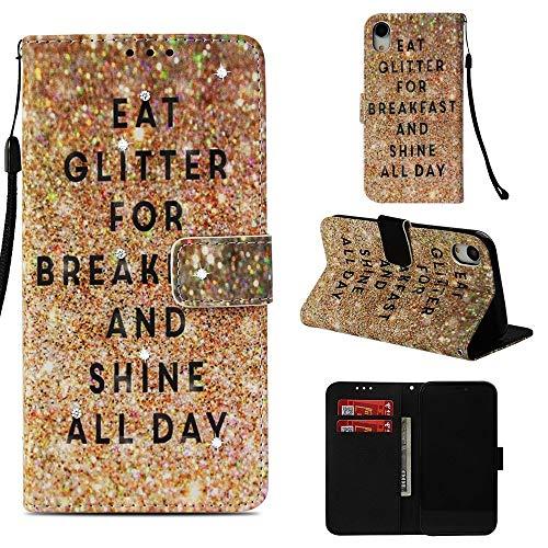 Tasche Hüllen Schutzhülle - case Cover PU Leather Muster Strassstein Dekor englische Schriftzeichen für Apple iPhone XR 6.1 inch