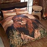Just Contempo Bettwäschegarnitur, Bettbezug-Set, Baumwolle, Rentiere, Weihnachten, Nacht, löwe, King Size