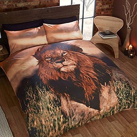 Just Contempo Bettbezug-Set, enthält Decken- und Kopfkissenbezüge, Design mit Löwen, Doppelbettgröße, Braun, braun, (Ge Quilt Designs)