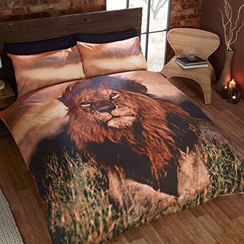 Just Contempo Bettwäschegarnitur, Bettbezug-Set, Baumwolle, Rentiere, Weihnachten, Nacht, löwe, Einzelbett (Safari Bettbezug-set)