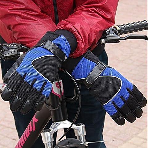 JQAM Hombres otoño invierno estriado tejido ocio pantalla táctil guantes al aire libre ciclismo a prueba de viento más terciopelo engrosamiento caliente Gl oves luminosa tira guantes , blue