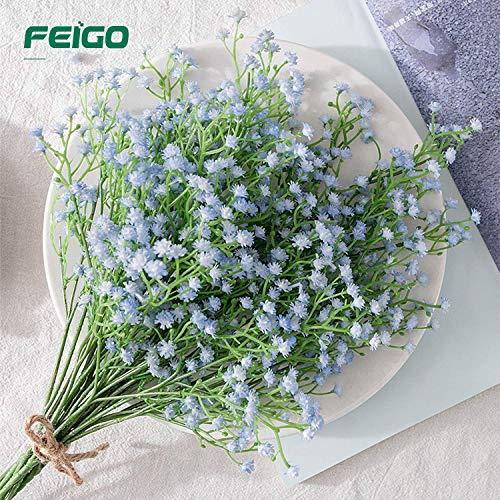 FEIGO Hochzeits Dekoration Schleierkraut Künstlich 6 Stücke Kunstblumen Perfekt für Zuhause Hochzeit Party Dekor Blumenstrauß Blau