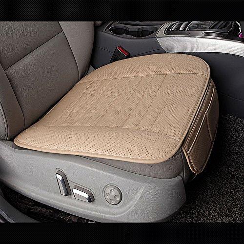 Auto Sitzkissen Surenhap Universal Sitzauflagen PU-Leder-Bambus-Holzkohle-Komfortable, Single Sitz Ohne Rückenlehne(Beige-gelb) -