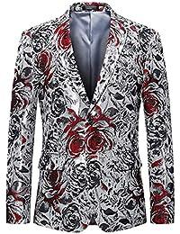 Giacca da Uomo Slim Fit Blazer alla Moda con Taglie Comode Stampa Floreale  Blazer per La Festa di Nozze Giacche… b317adaf0c5