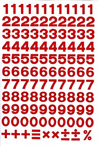 Numbers Letters Design -RED- Sticker sticker set character - 1 Sheet dimensions 27 cm x 18 cm