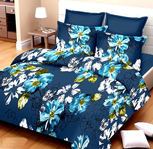 Fab Decor Printed Double Bedsheet with 2 Pillow Covers - Designer Cotton Bedsheet Set for Elegant Bedding - Premium Quality Mattress Sheet (Blue Colored)