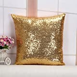 Lentejuelas funda de almohada Funda de almohada un lado, Lino algodón, dorado, 45cm x 45cm