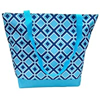 Popular Diamonds Turquoise & Blue Lined Microfiber Beach Utility Shopping Book Tote Bag Book Purse with Zipper TravelNut Birthday Mother Day High School Graduation Gift Idea Grandma Daughter Sister
