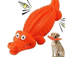 HUADADA Dog Squeaky Toys Dog Chew Crocodile Interactive Toys Durable Rubber Indestructible Training Toy Large Tough Dog Toys