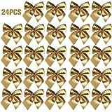 Easy_Buying - 24 Weihnachten Schleifen Band Ornament für Weihnachtsbaum hängende Dekoration Geschenk Party Zuhause Geschenkschatulle Dekorationen, gold