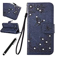 Samsung Galaxy J5 2016 Bling Case,Samsung Galaxy J5 2016 Leather Case,Beddouuk Luxury Elegant Bling Shiny Glitter Sparkling Rhinestone Diamond Floral Flower and Butterfly PU Leather Wallet Case Cover with Rope/Strap and Stand Feature Magnetic Closure for