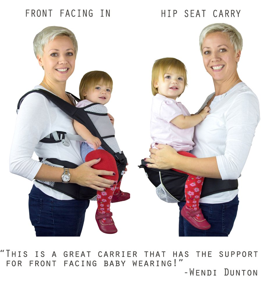 Baby Carrier Hip Seat Sling by NimNik Best Safe Backpack Carriers Back Pain Support (Pearl Black) NimNik ★ NO MORE BACK AND SHOULDER PAIN - NimNik offers an innovation in baby carrying fashion and quality for girls and boys! This Soft Structured Baby Carrier is not only versatile with four different carry positions, but perfectly comfortable for both you and your little one. That twined with unmatched durability makes NimNik Baby Carriers a popular choice in ergonomic baby carriers! ★ DESIGNED FOR STYLE AND COMFORT - With superior padding in our adjustable EXTRA LONG WAIST STRAPS (50 inches / 125 cms) and ergonomic lumbar support for you, say goodbye to backpain and other back, hip and shoulder related carrying issues. With the extremely ergonomic hip seat, you can rest assured that your little one is sitting pretty in style and comfort no matter how you carry! ★ PREMIUM COTTON FOR SOFT AND COSY FEELING - From front facing out and facing in, to hip, to back carry, you'll be comfortable, and so will children. Not every baby likes to be carried the same way, from 6 months and up. Our baby carrier comes with a wide range of comfortable carry positions to use as best suits the both of you, without the back pain after maternity. 4