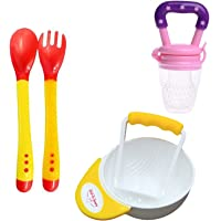 Safe-O-Kid Weaning Off Baby and Child Safety Kit, Combo, Set - Basic (6 Months Plus), Heat Sensitive Spoons, Fruit Nibbler, Food Masher Bowl for Kids, Children, Infants or Toddlers
