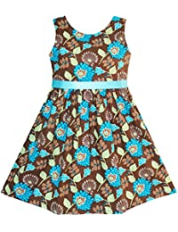 Sunny Fashion - Vestido con estampado floral para niña azul