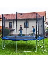 Gartentrampoline Trampoline Outdoor-Trampoline Fitness-Trampoline 370cm , inkl. Sicherheitsnetz,Schuhtasche, Bodenanker, Leiter und Abdeckplane