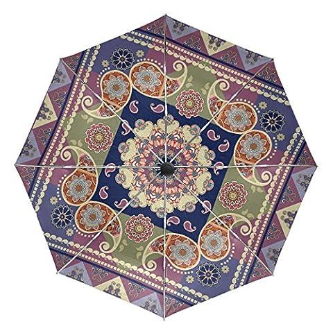 Baihuishop indien ethnique Paisley et fleur Mandala coupe-vent parapluies de pluie Auto Open Close 3pliable résistant Parapluie de voyage compact protection UV Portable léger et facile à transporter