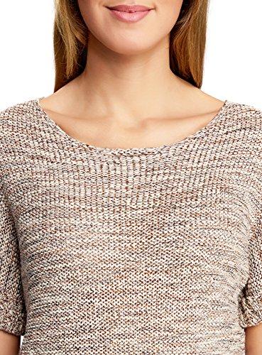 oodji Collection Damen Kurzarm-Pullover mit Aufschlägen auf den Ärmeln Beige (3331M)