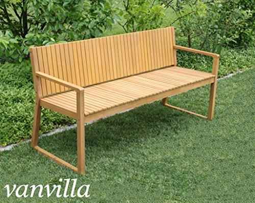 vanvilla Gartenbank Holz Holzbank Sitzbank 3-Sitzer Gartenmöbel Holz ALEGRIA Sitzauflage GRAU - 2