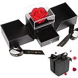Vegena Rose Eternelle avec Boîte à Bijoux, Rose Eternelle Qui ne Fane Jamais, Fleur Eternelle pour la Saint-Valentin Fête des