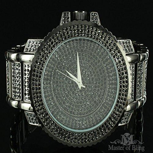 0e8ed3fec06d Black Finish Simulated Diamond Solid Steel Techno Pave Joe Rodeo Mens Watch  Sale