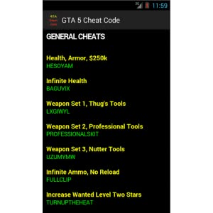 Cheats Code For GTA 5