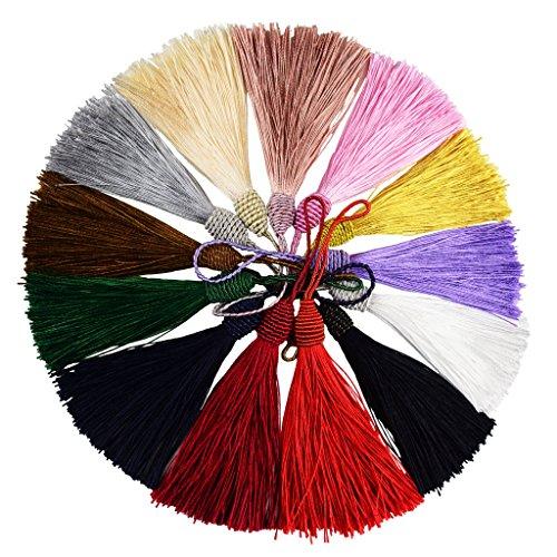l Silky Floss Lesezeichen Quasten mit 2-Zoll-Kabel Schleife und Kleinen Chinesischen Knoten für Schmuckherstellung, Souvenir, Lesezeichen, DIY Handwerk Zubehör(Mixed13) ()