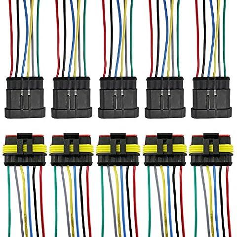 PsmGoods wasserdichte Auto 5Kit 6 Pin elektrischer Anschluss-Stecker mit Draht AWG Meeres (6 Pin)