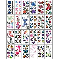 YSYYSH Waterproof Tattoo Sticker Female Lasting 3D Butterfly Flower Sexy Concealer Clavicle Tattoo Sticker 24 Sheets Temporary Tattoos