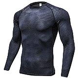 Mens Compression Top Base Layer 3D printing Gym Long Sleeve Running Thermal Sweatshirt Workout T-shirt #4029 Black M(Tag L)