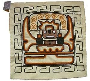 Péruvienne Coussin Inca Cover, Handwoven, Laine avec traditionnelle Inca Designs (blanc / crème)