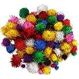Pompons mit Glitzer 100 Stück, bunt gemischt ✓ Pompons