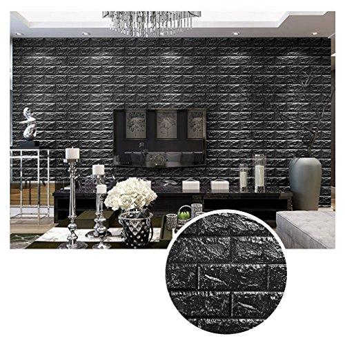 KINLO 10 Stück 3D Tapete 70x77x0.9cm Schwarz DIY Wasserfest Wandpaneele selbstklebend Schaum Brick Pattern Wallpaper modern Wandaufkleber aus hochwertigem PVC für Schlafzimmer Wohnzimmer Küche