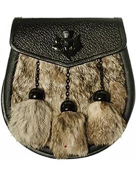 Half Sporran Synthetic Grey Rabbit 3 Tassel Black Flap Jet Black Thistle Badge