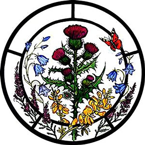 STAINED GLASS WINDOW ART - STATIC CLING DECORATION - SCOTTISH FLOWERS