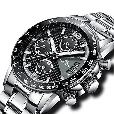 Relojes Hombre Acero Inoxidable Relojes de Pulsera de Lujo Moda Cronometro Impermeable Fecha Calendario Analogicos Cuarzo Reloj Negocio Casual Cronógrafo con Dial Negro Correa de Plata